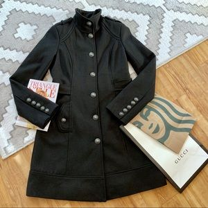 Le Chateau Black Military Button Wool Coat XS